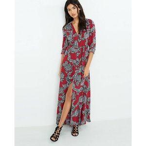 Express Floral Maxi Shirt Dress